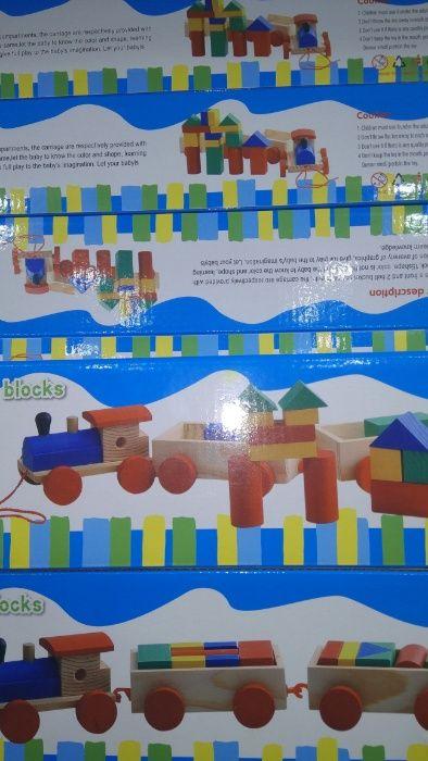 Дървен влак конструктор с 18 части дървено влакче с вагони монтесори и