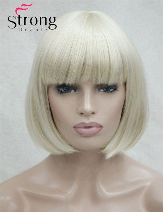 Peruca noua sigilata blond platinat cu breton superba
