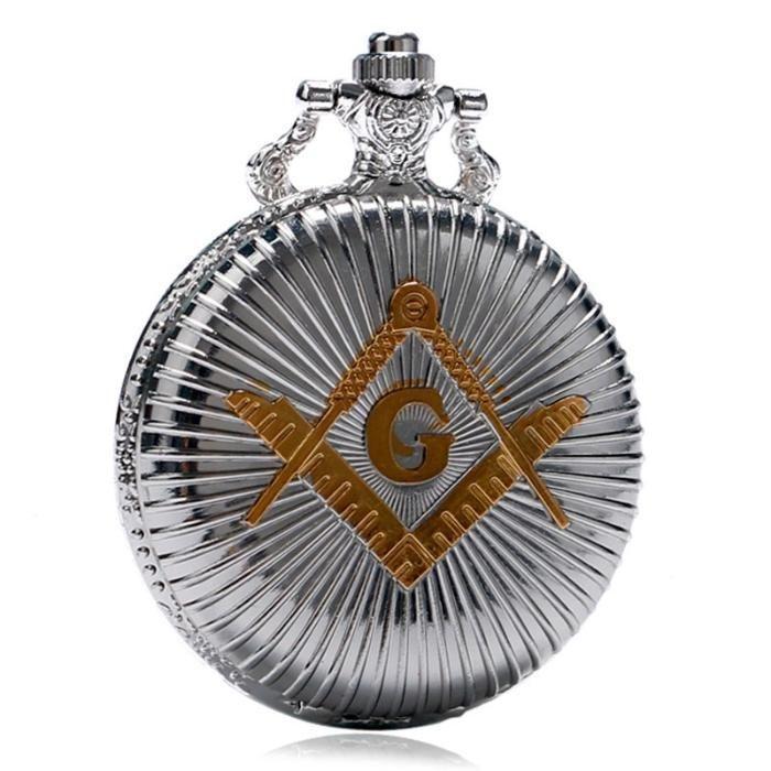 Ceas de buzunar emblema Francmasoneria culoare argintiu emblema aurie
