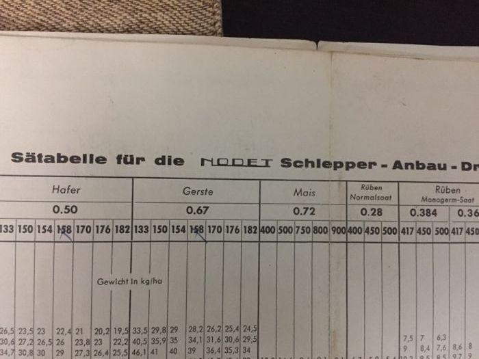Carte tehnica manual tabel de semanat Nodet