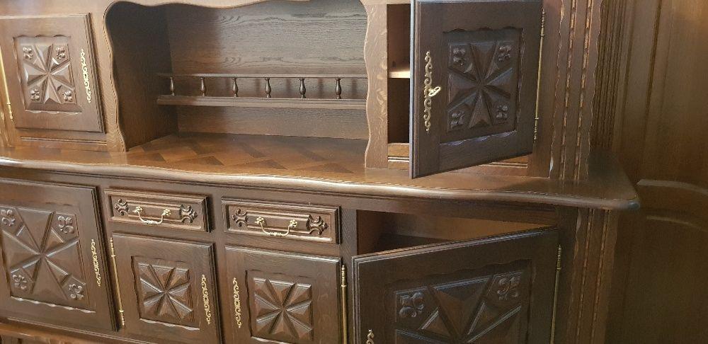 Set mobilier lemn, vintage, masa + scaune + dulap + bar