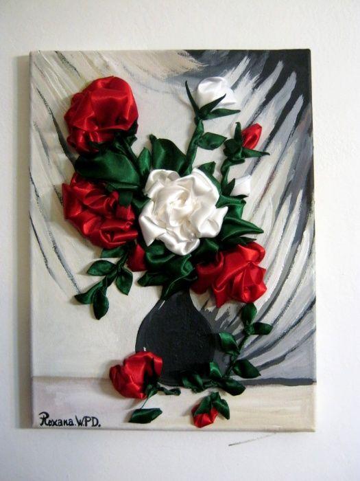 Tablouri handmade flori panglica - cadouri unicat- trandafiri, iris