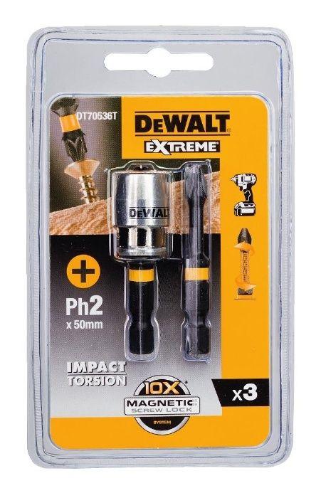Магнитен адаптор и 2 накрайника PH2 - 50 мм Dewalt DT70536T