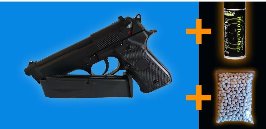 Pistol airsoft Beretta GG-104 model nou+GAZ +BILE BONUS