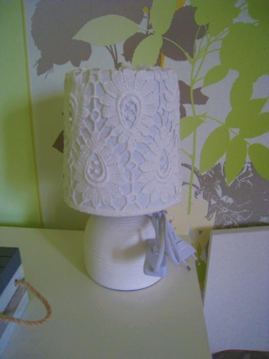 Ръчно изработена настолна лампа от дантела