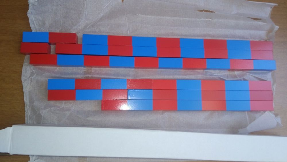 Монтесори Дървени Числови Летви синьо-червени пръчки стикове гр. Бургас - image 2