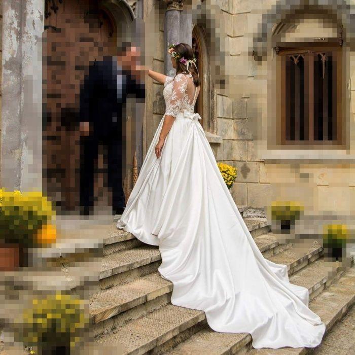 Rochie mireasa, model UNIC, stil Printesa, cu trena lunga, din tafta