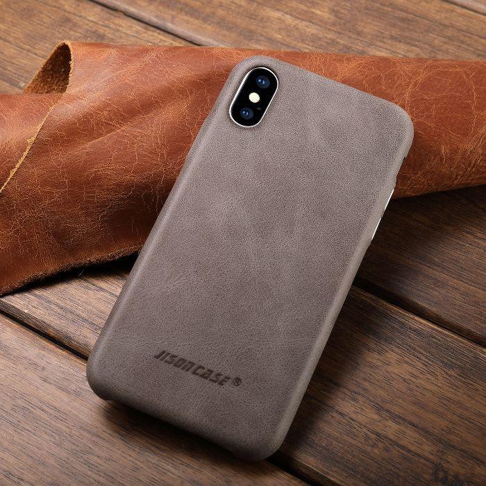 Husa slim piele naturala, Jison Case, iPHONE X, XS, negru, coniac,gri