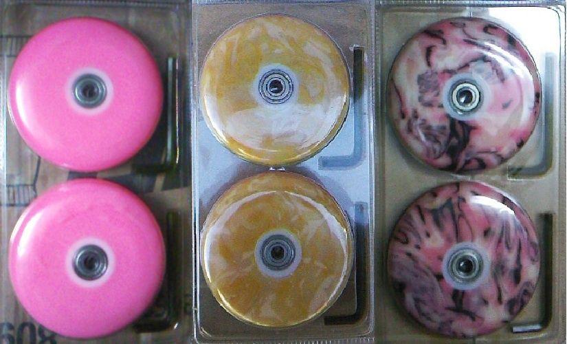 Set nou roti trotineta 100 mm: roz galbene violet rosii rulmenti ABEC5