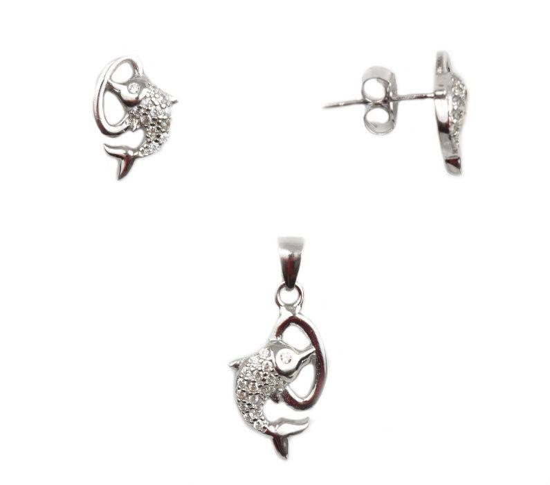 Set argint rodiat delfini - DA72