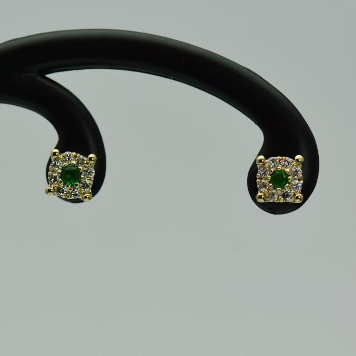 Cercei din aur galben cu smaralde si diamante (cod 2893)
