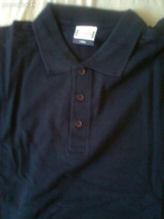 Tricou T-shirt mineca lunga, model Polo, bleumarin inchis, nou!