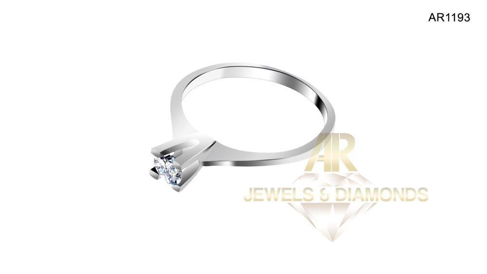 Inel Aur Alb cu Diamant Central model ARJEWELS&DIAMONDS(AR1193)