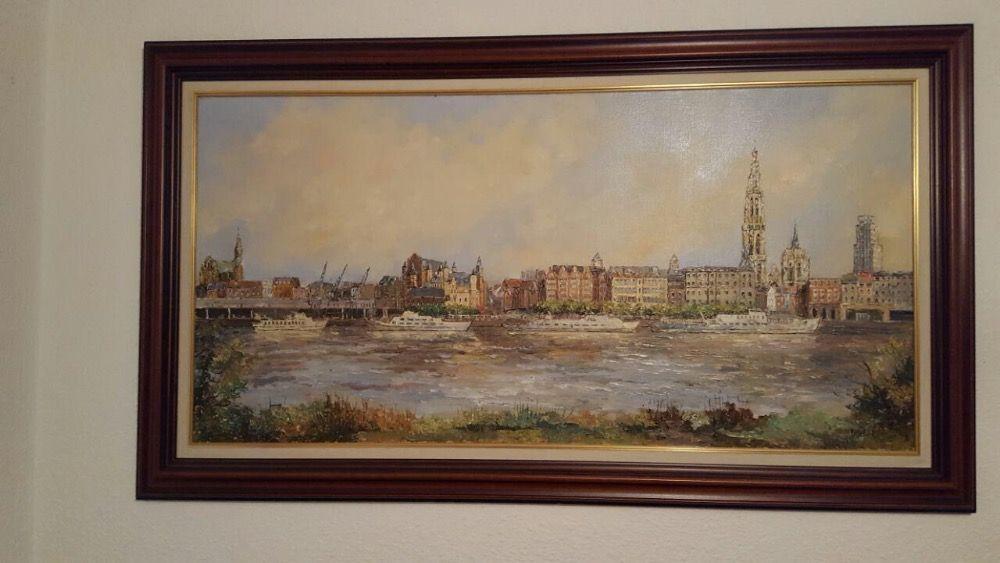 "Tablou pictura pe panza. Belgia ""portul Antwerpen' 1.60m x93cm"