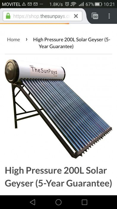 Aquecedor solar de água 100L