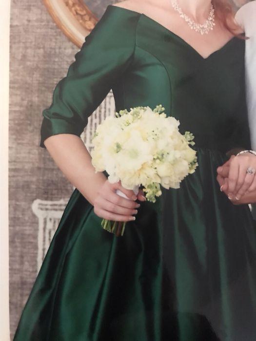 Rochie ocazie verde, din tafta, creatie designer
