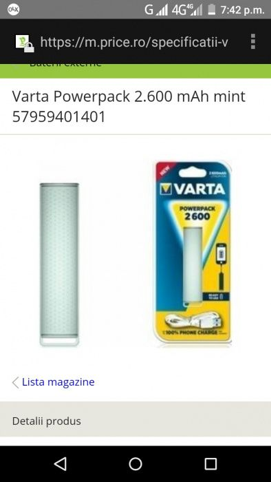Baterie externa Varta PowerPack 2600 A