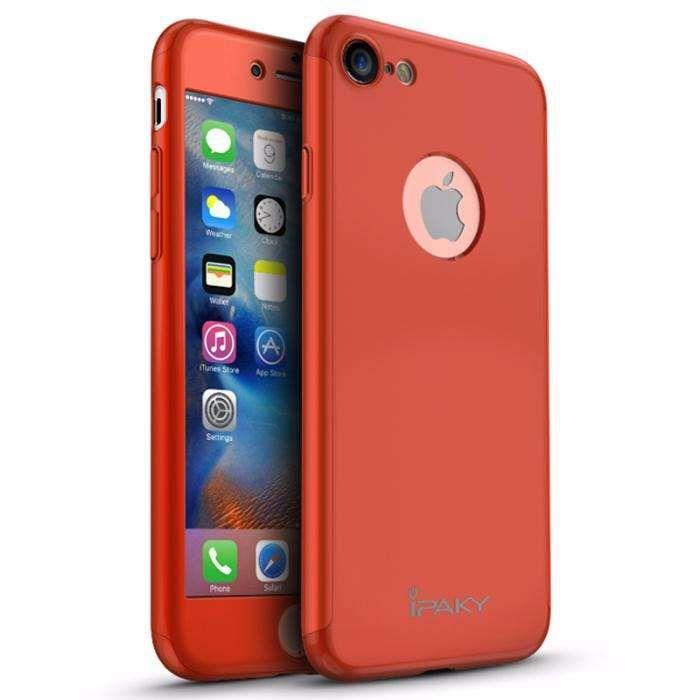 Husa 360º iPaky pentru iPhone 7 cu folie de protectie - Red