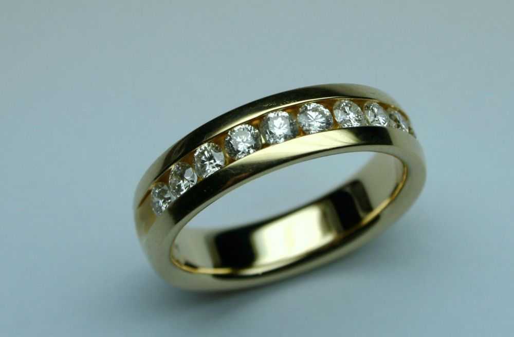 Inel Aur 14k Cu Diamante Pentru Barbati Barbatesc Verigheta Ghiul