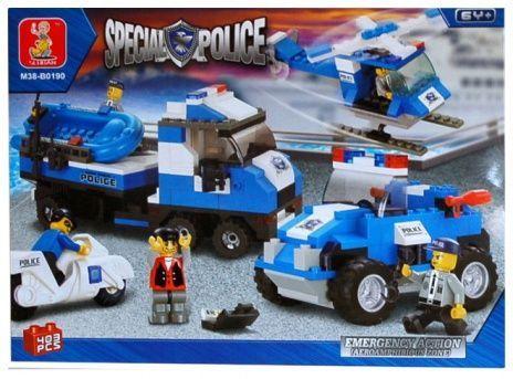 Joc constructie 403 caramizi Sluban tip Lego: Police Emergency Action