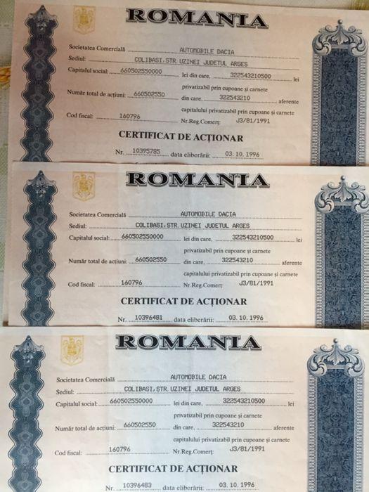 Certificate acționar