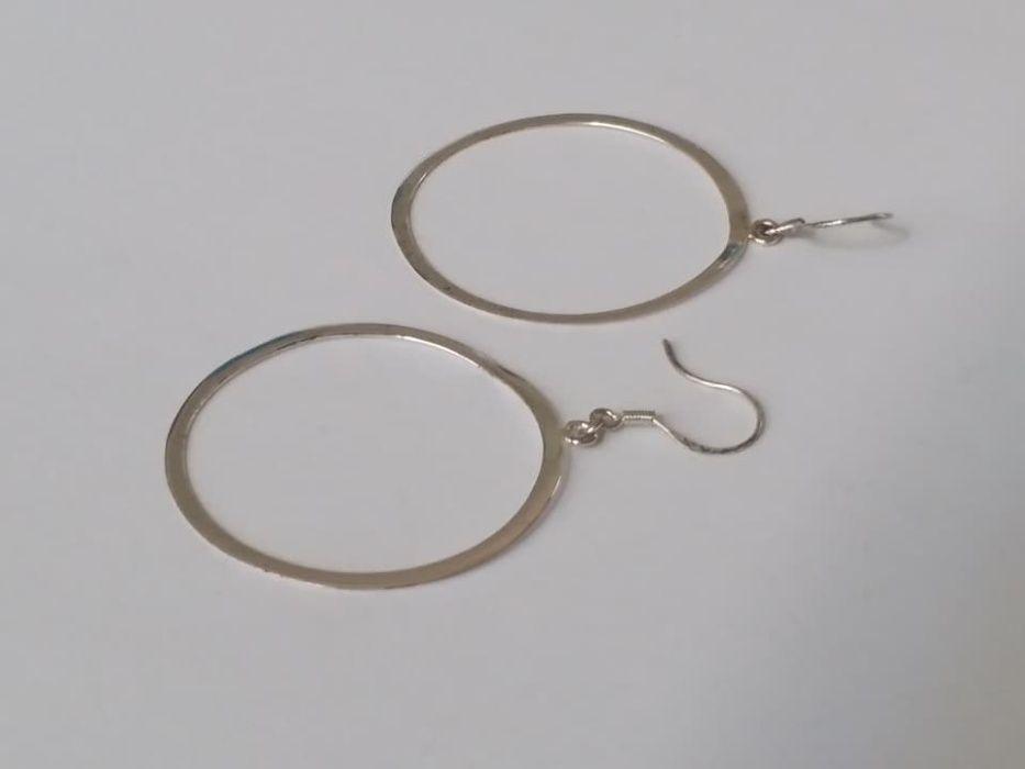 J51, cercei argint 925,noi/marcati, mari 5 cm, verigi