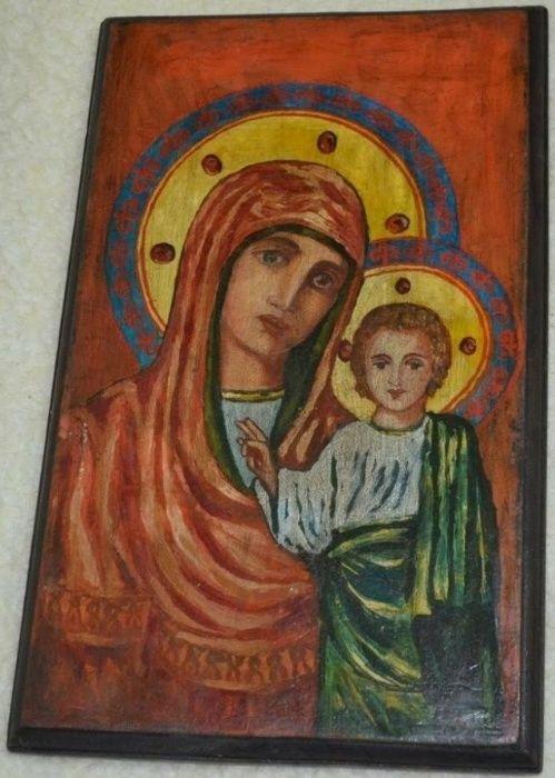 ICOANA veche peste 100 ani / Icoana veche pictata pe lemn 28 x 45 cm