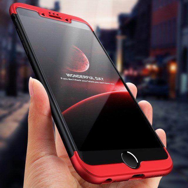 Husa Apple iPhone 6 Plus/Plus 6S,Elegance Luxury, 360° 3in1 Negru-Rosu