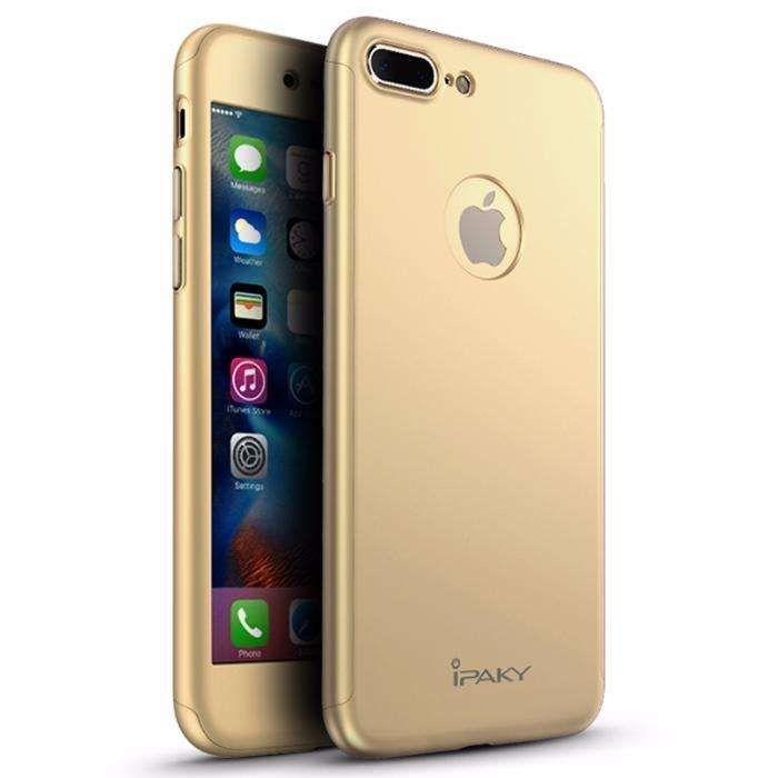 Husa 360º iPaky pentru iPhone 7 PLUS cu folie de protectie - Gold