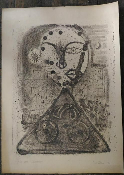 Gravura-''Abstract''-Lito. dim;45/50cm Autor;Gh.Botan- 1964