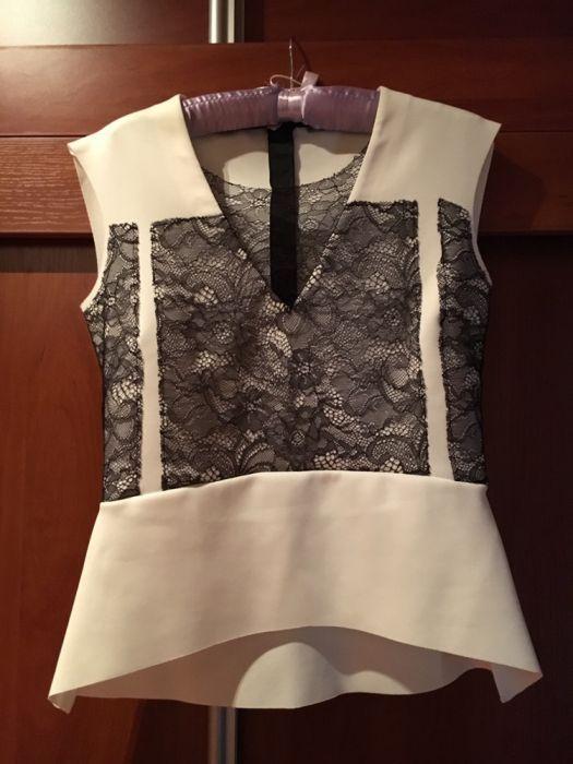 Елегантен топ/блуза на ZARA в бяло и черно