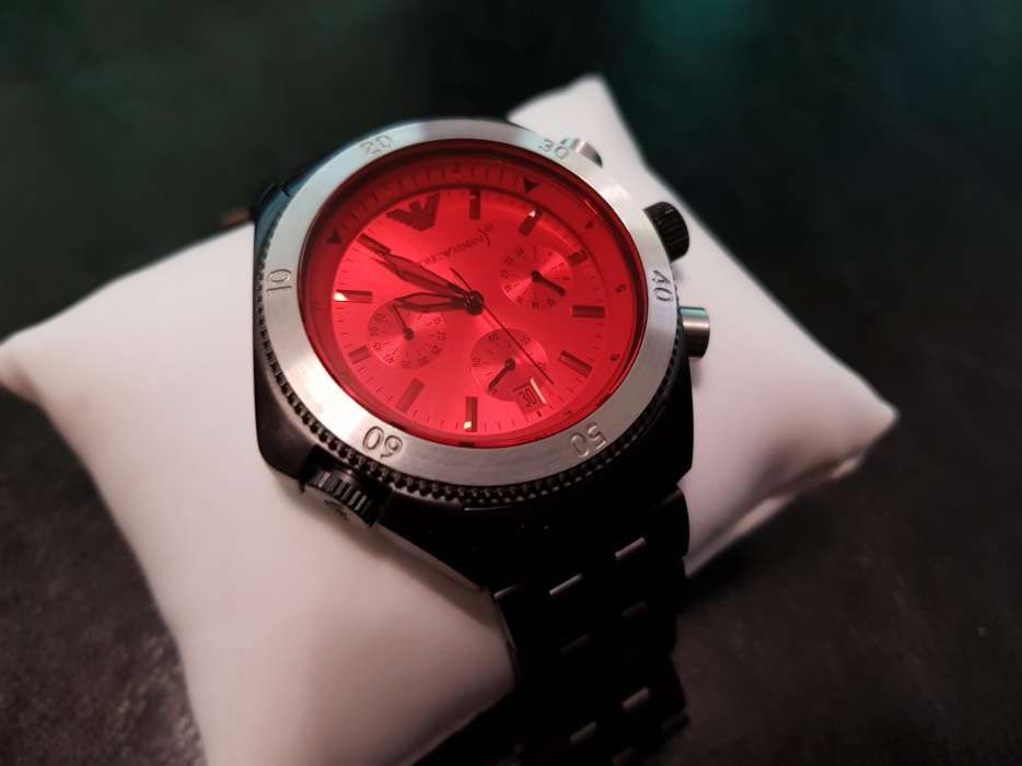 Ceas Emporio Armani Chronograph Black Ion-Plated AR0598 Purtat Negru
