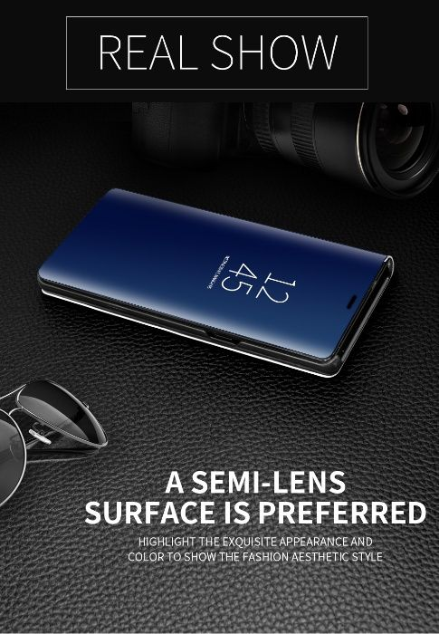 Husa flip mirror case Samsung Galaxy S8 Plus - doar neagra