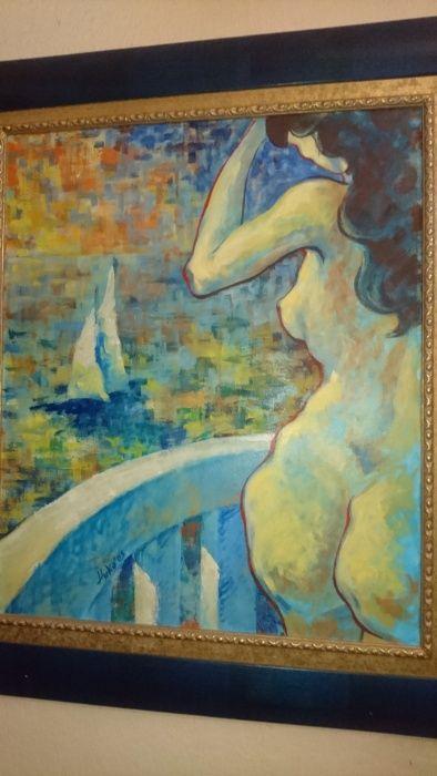 """Картина """"Посрещане""""- 70×80 см ,масло върху платно, рамка-Ренесанс"""