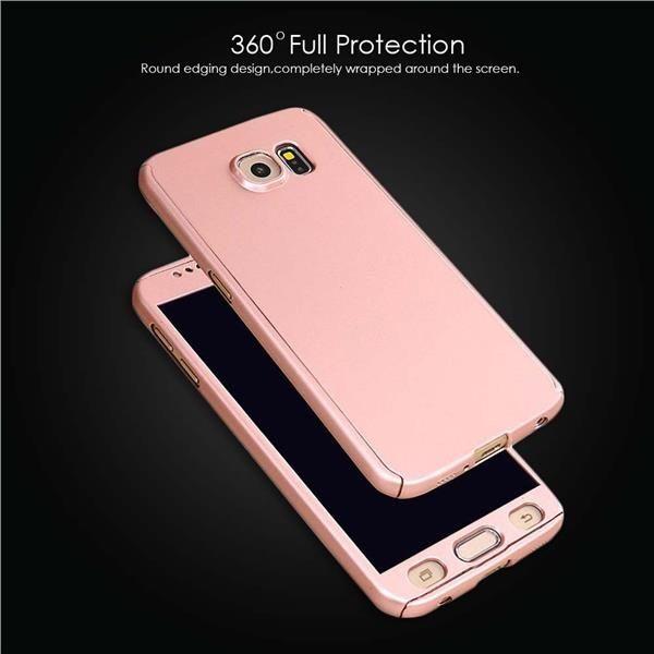 Husa 360 grade pentru Samsung A5 2016 ROSE-GOLD cu folie de protectie