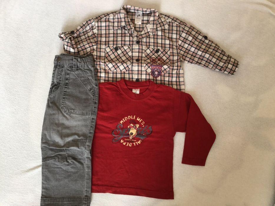Blugi, tricou, camasa, h 92 cm, curea piele