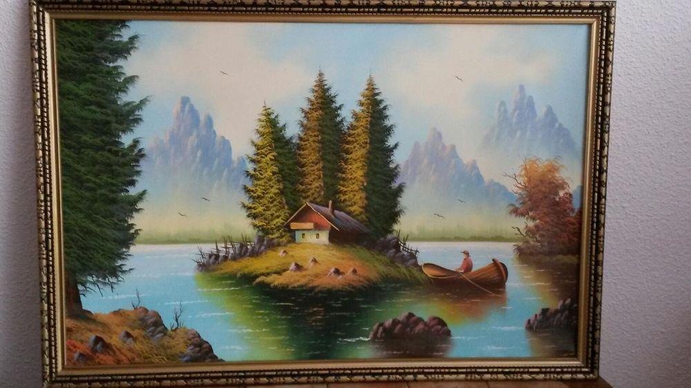 Tablou pictat pe panza in ulei.Dimensiune 103×71 cm.