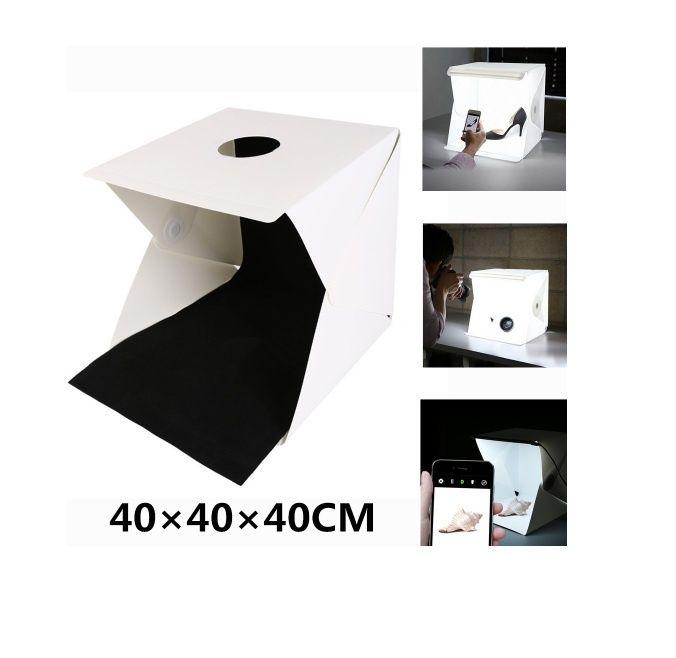 Lightbox portabil 40cm cub foto cu led incorporat pt fotografie produs