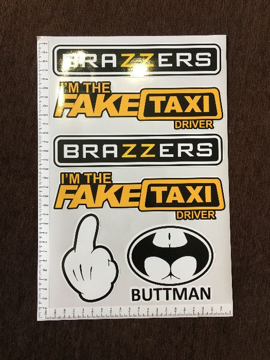 Стикери BrazzerS, Mickey, Fake Taxi, Buttman PVC фолио лист А4