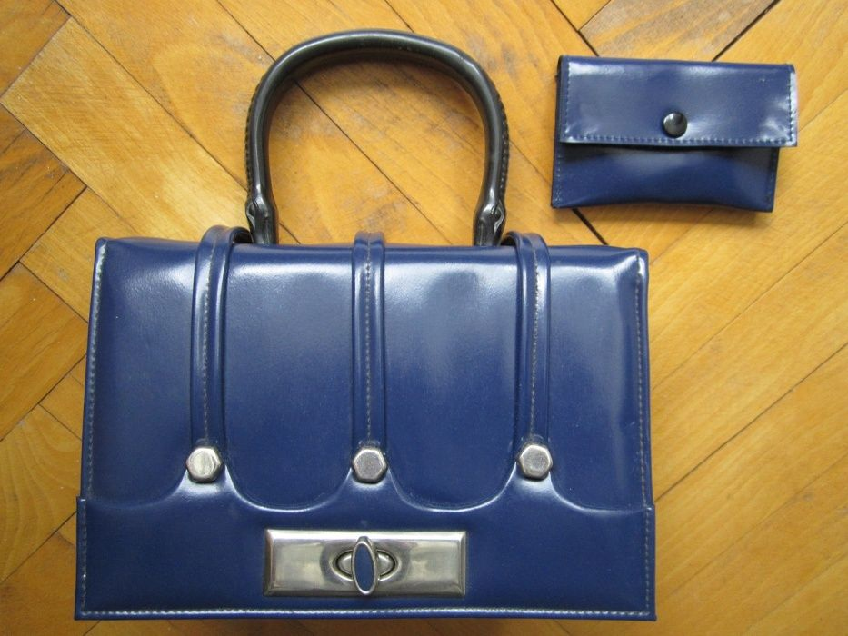 Дамска чанта, кожа + портмоне