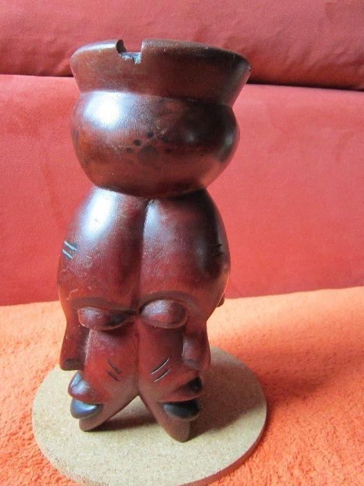 cadou inedit-sculptura lemn arta africana de colectie,suport lumanare