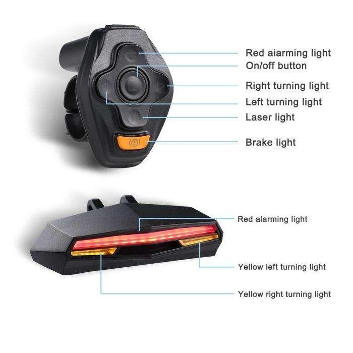 led stop spate cu semnalizare stg./dr. si laser wireless USB bicicleta