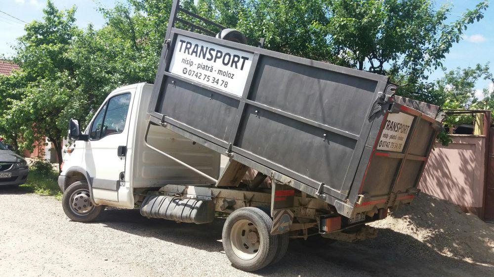 Transport nisip,piatra,balastru,piatra concasata,moloz,pamant,carbuni