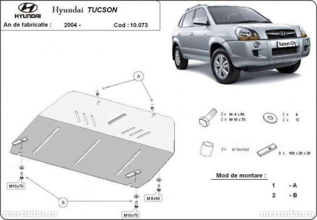 Scut metalic pentru motor Hyundai Tucson 2004-2010 - otel 3mm