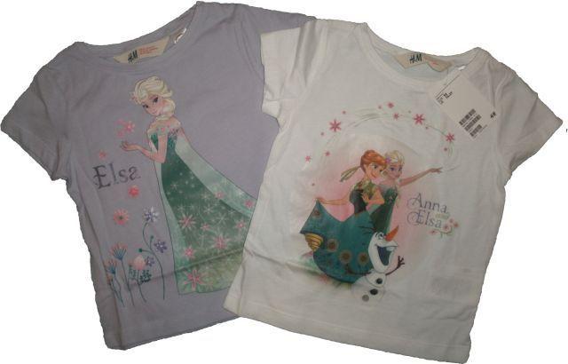 Set 2 tricouri Anna si Elsa, firma H&M