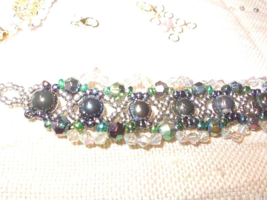 bratara margele verde-albastrui