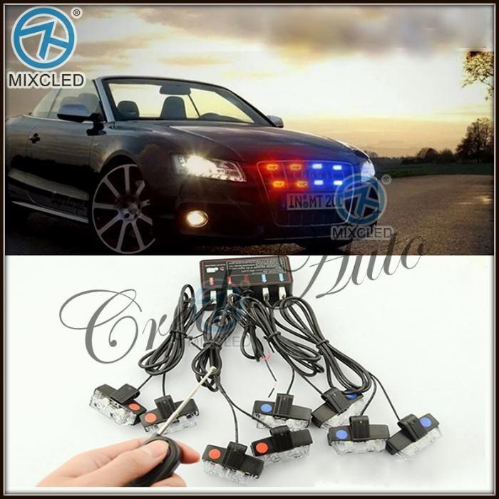 НОВО!Безжичен 16W 2400LM LED Полицейски сигнален блиц за решетка!!
