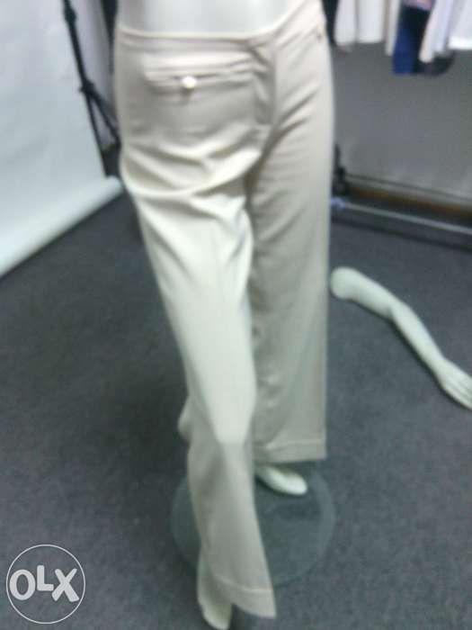 pantalon EVAZAT elegant, crem, pentru dama