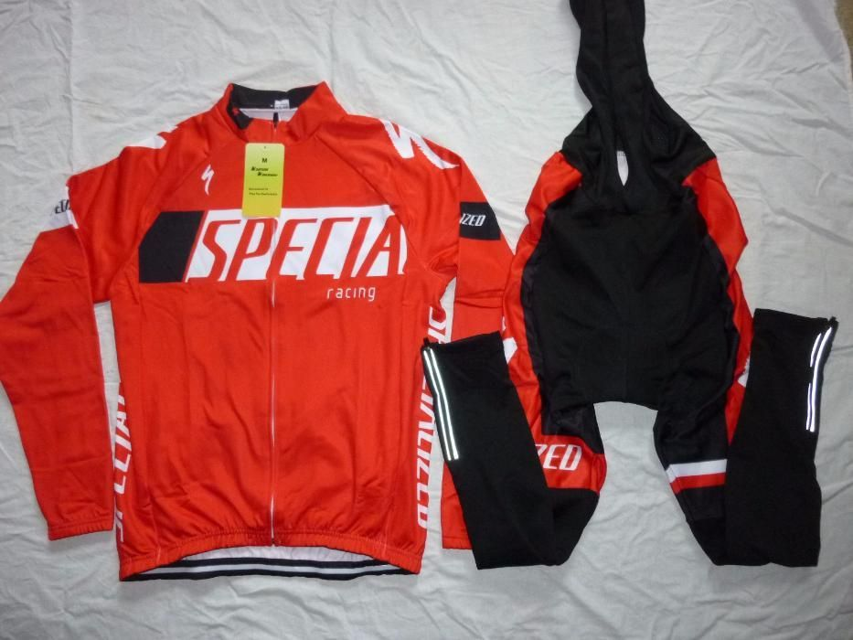 Echipament ciclism Specialized rosu iarna toamna set nou bluza pantalo