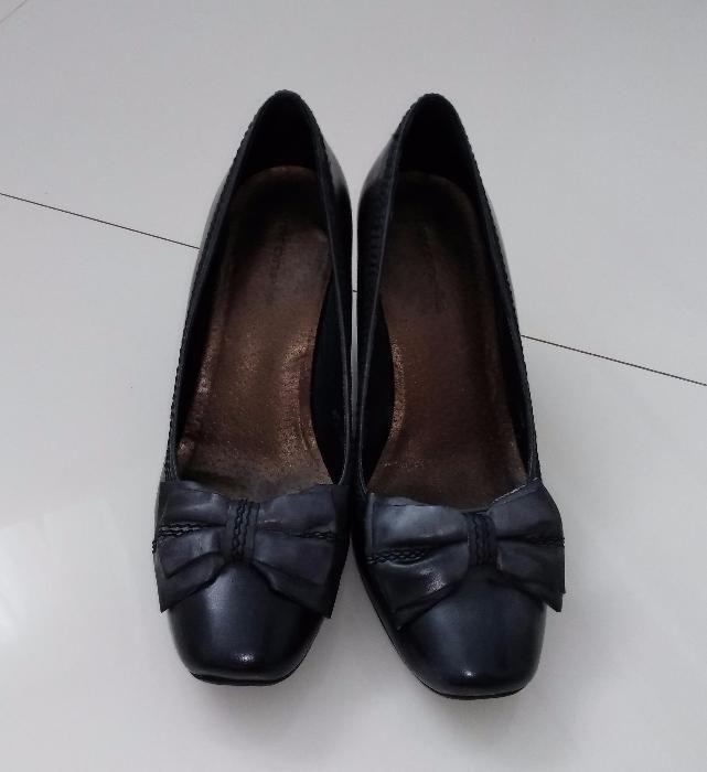 Pantofi piele gri închis patinat cu fundiță și cusături decorative